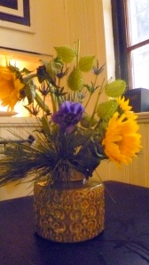 Sunflowers Eslepia Pods Anemones in Green Ceramic Vase